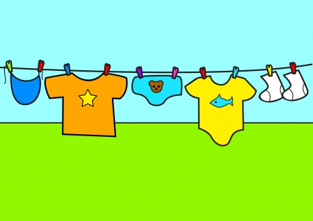 Cartoon illustration of baby clothes  Vector