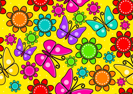 Seamless pattern of butterflies and flowers  Vector