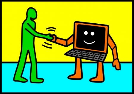 Pop-art illustratie van een menselijke figuur schudden hand met computer