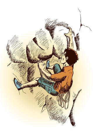 conquer: Sketch illustration of a man climbing the rock