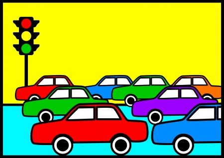Pop art illustration of traffic jam Vector