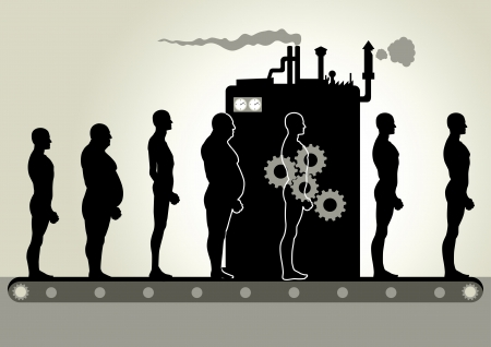 factory workers: Transformation Machine Illustration
