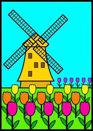 olanda: Illustrazione vettoriale di un mulino a vento tra i tulipani