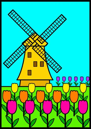 among: Vector illustration of a windmill among tulips