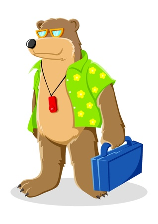 Cartoon illustration of a bear in beach shirt  Vector