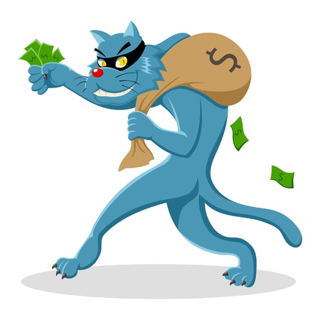 tiptoe: Cartoon illustration of a cat stealing a bag of money
