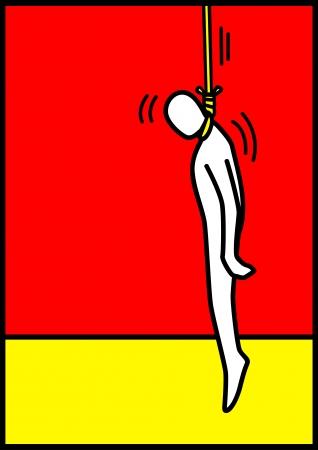 faillite: Illustration de l'art pop d'une figure homme d'�tre pendu