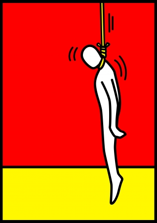 misery: Pop art illustration of a man figure being hanged