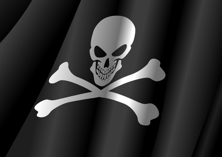 hijack: Vector illustration of a flag of Jolly Roger symbol  Illustration
