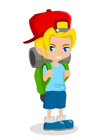 1 school bag: Cartoon illustration of a boy with backpack  Illustration