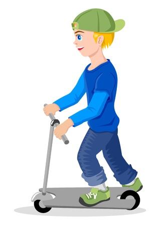 little boy cartoon: Cartoon illustration of a boy with kick scooter  Illustration