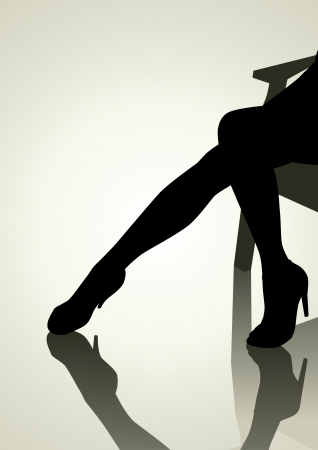 nude black woman: Silhouette of woman legs with high heels  Illustration