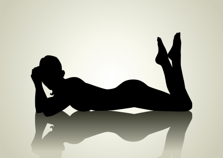 erotic: Silhouette illustration of a female figure lying on the floor