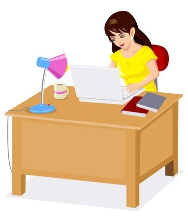 using laptop: Cartoon illustrazione di una donna che lavora sul computer portatile