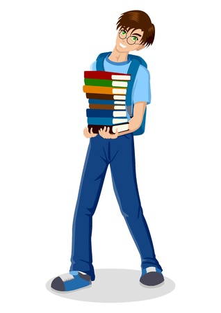 heavy duty: Cartoon illustration of a young male figure carrying books