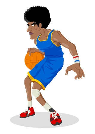 frizzy: Cartoon illustration of a black man playing basketball Illustration