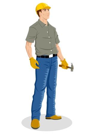 dělník: Ilustrace stavební dělník Ilustrace