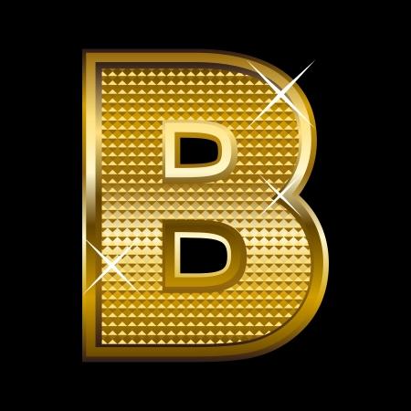 b: Golden font type letter B