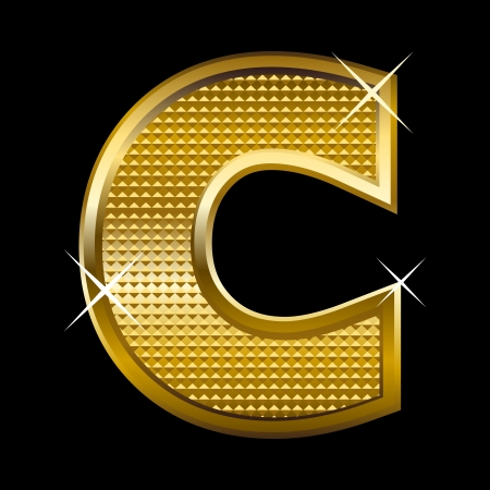 Golden font type letter C  Stock Vector - 14512834