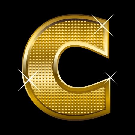 shinny: Golden font type letter C