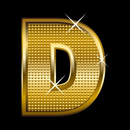 Golden font type letter D