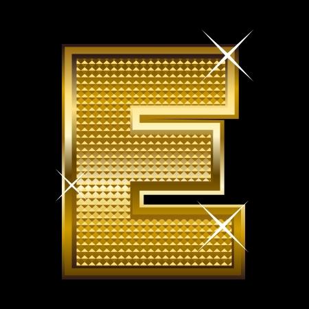 letter blocks: Golden font type letter E