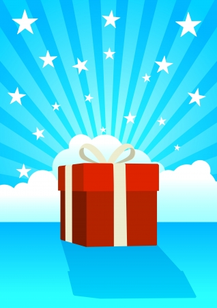 firmament: Illustration of a gift box on clouds and stars background