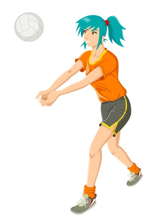Cartoon illustration of a girl playing volley ball Stock Vector - 14337205