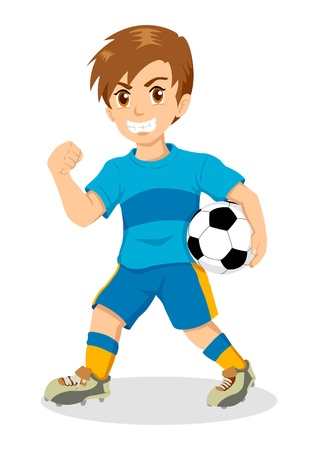kids football: Cartoon illustration of a boy holding a soccer ball