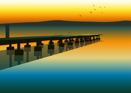 tranquil scene: Vector illustration of pier