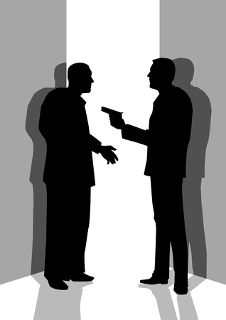 Silhouette illustration of a man threatening someone with a gun Vector