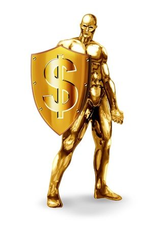 safe investments: Illustrazione di un uomo che regge uno scudo d'oro con il simbolo del dollaro