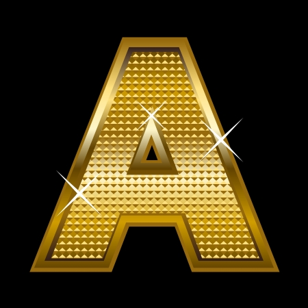 Golden font type letter A  Stock Vector - 14512837