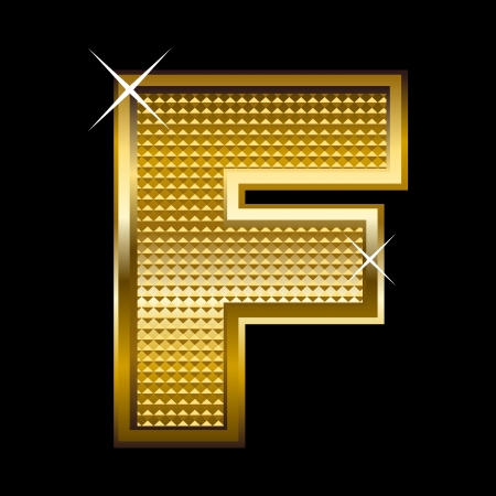 letter blocks: Golden font type letter F