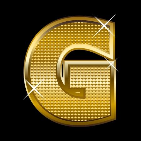 shinny: Golden font type letter G