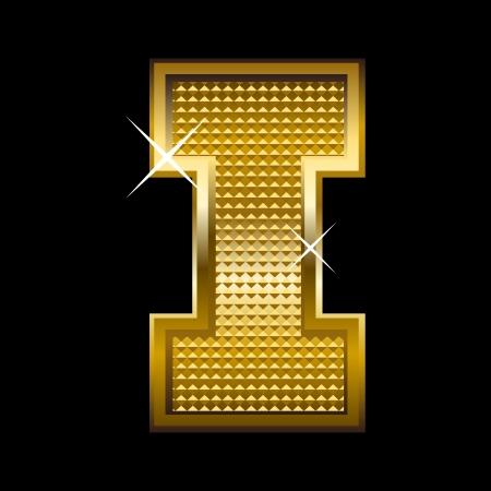 letter blocks: Golden font type letter I