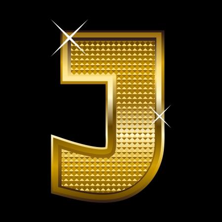 letter j: Golden font type letter J