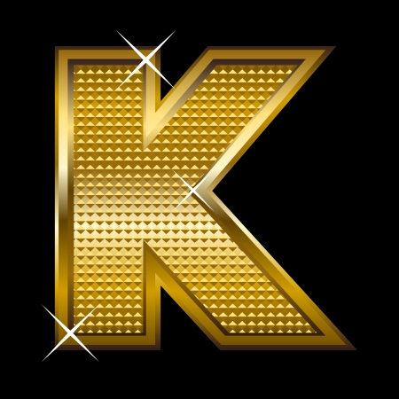 Golden font type letter K Stock Vector - 14512842