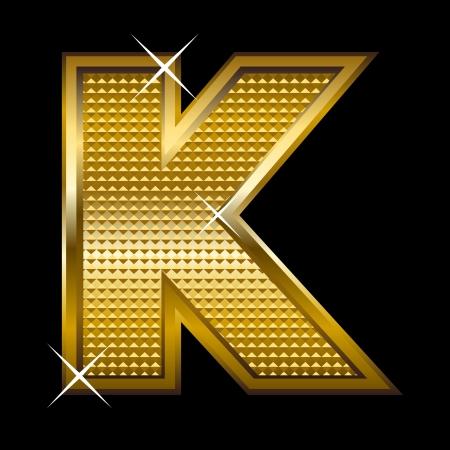Golden font type letter K  Vector