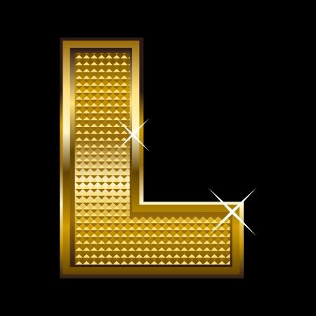 letter blocks: Golden font type letter L