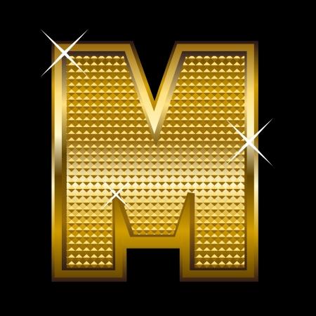 shinny: Golden font type letter M