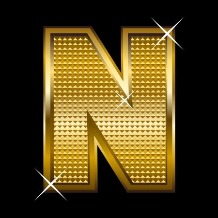 Golden font type letter N  Stock Vector - 14512844