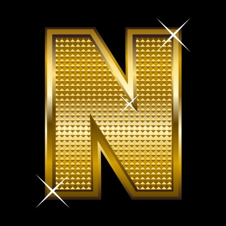 letter blocks: Golden font type letter N
