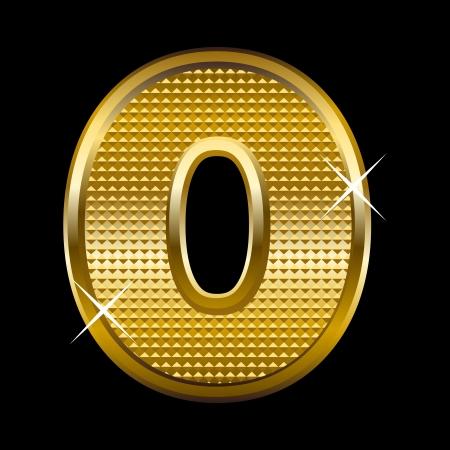 Golden font type letter O