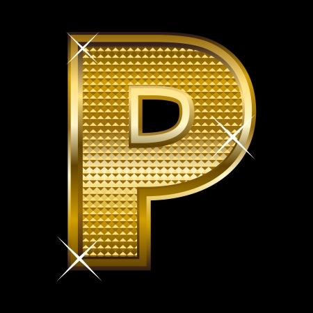 shinning: Golden font type letter P  Illustration
