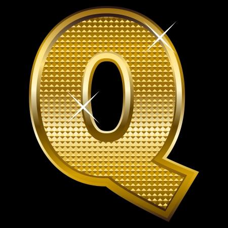 shinning: Golden font type letter Q  Illustration