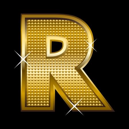 letter blocks: Golden font type letter R