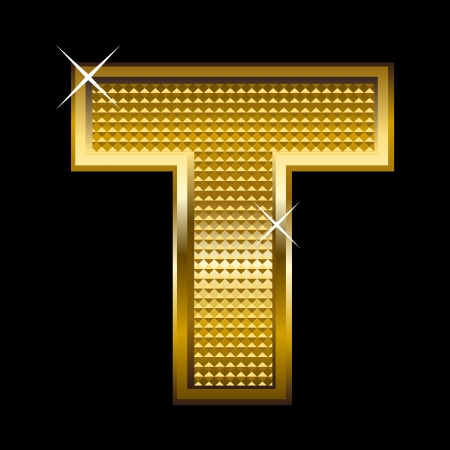 block letters: Golden font type letter T  Illustration