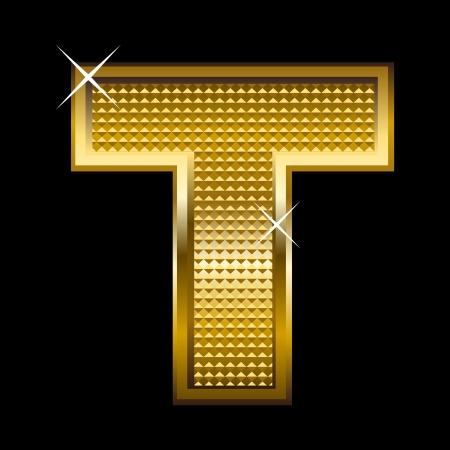 gold font: Golden font type letter T  Illustration