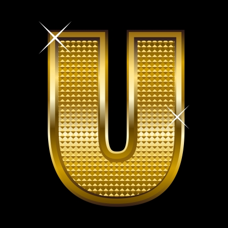 letter u: Golden font type letter U  Illustration